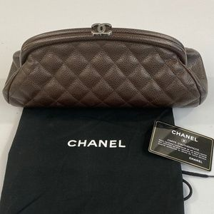 CHANEL Chocolate Brown Caviar Leather Clutch